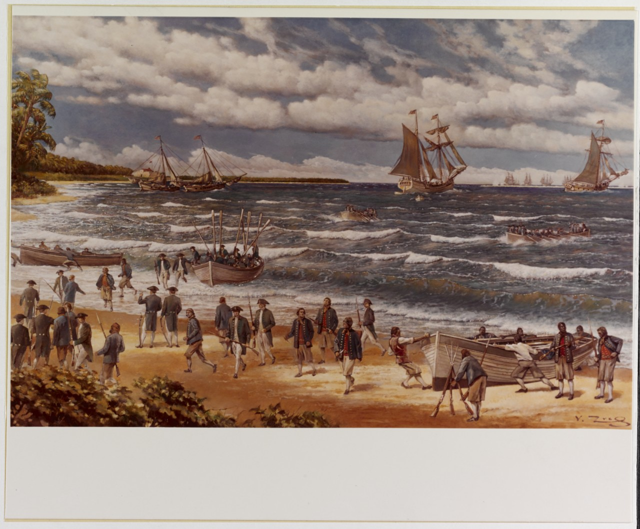 Image of first overseas Expedition of the Continental Navy at the shore