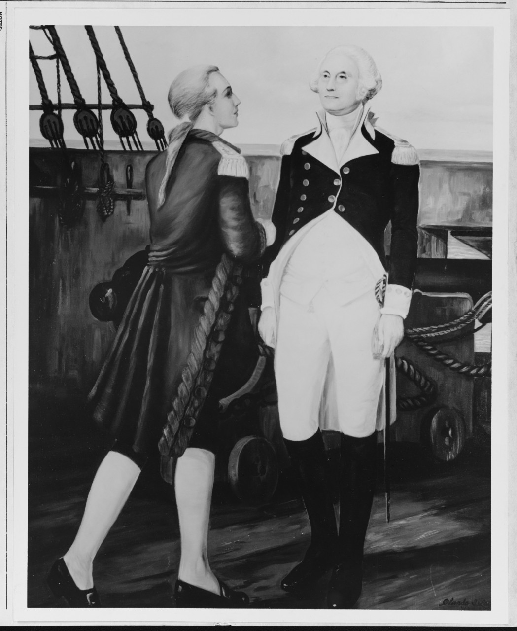 George Washington aboard ship - an oil painting by Orlando S. Lagman, USN (1965)